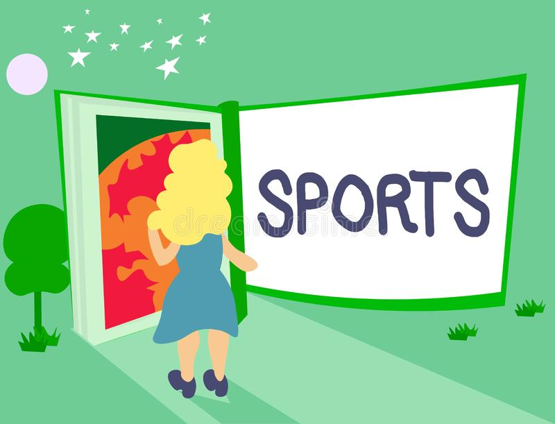 Handwriting text Sports. Concept meaning activity physical exertion and skill individual or team competes.  royalty free illustration