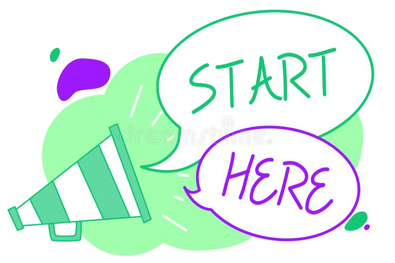 Handwriting text Start Here. Concept meaning telling someone this is beginning point to go from to destination Megaphone loudspeak. Er speech bubbles important stock illustration