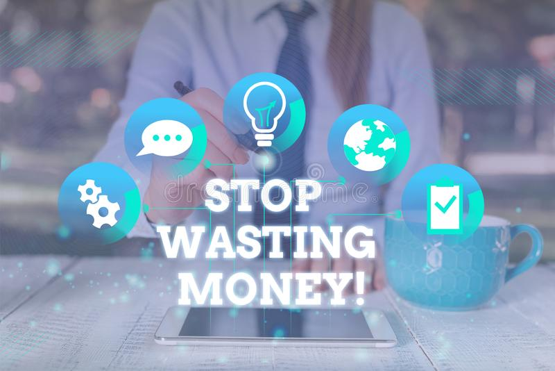 Handwriting text Stop Wasting Money. Concept meaning advicing demonstrating or group to start saving and use it wisely. Handwriting text Stop Wasting Money stock photos