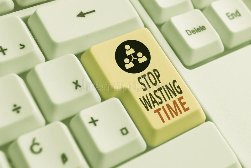Handwriting text Stop Wasting Time. Concept meaning advising demonstrating or group start planning and use it wisely. Handwriting text Stop Wasting Time stock image