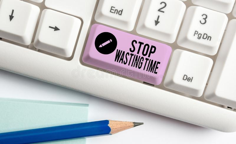 Handwriting text Stop Wasting Time. Concept meaning advising demonstrating or group start planning and use it wisely. Handwriting text Stop Wasting Time royalty free stock photography