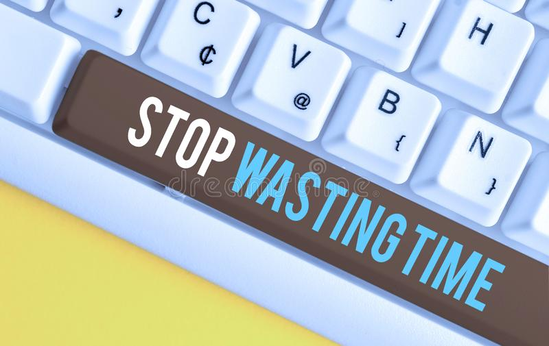 Handwriting text Stop Wasting Time. Concept meaning advising demonstrating or group start planning and use it wisely. Handwriting text Stop Wasting Time royalty free stock photo