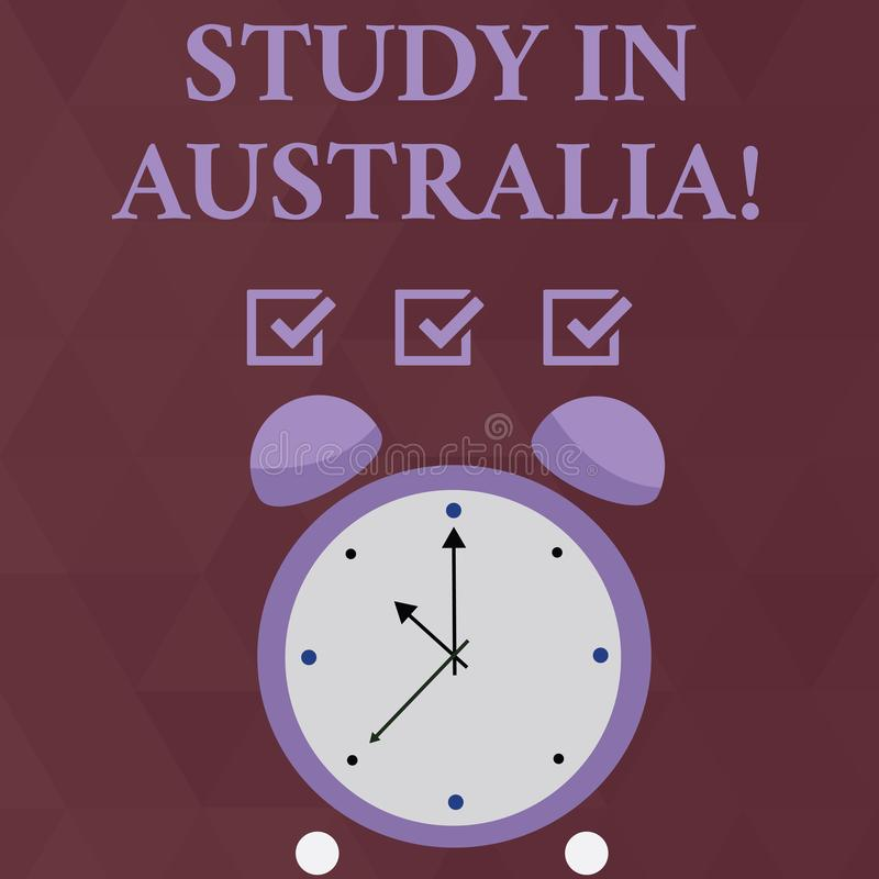 Handwriting text Study In Australia. Concept meaning going into foreign country order complete your studies Colorful royalty free illustration