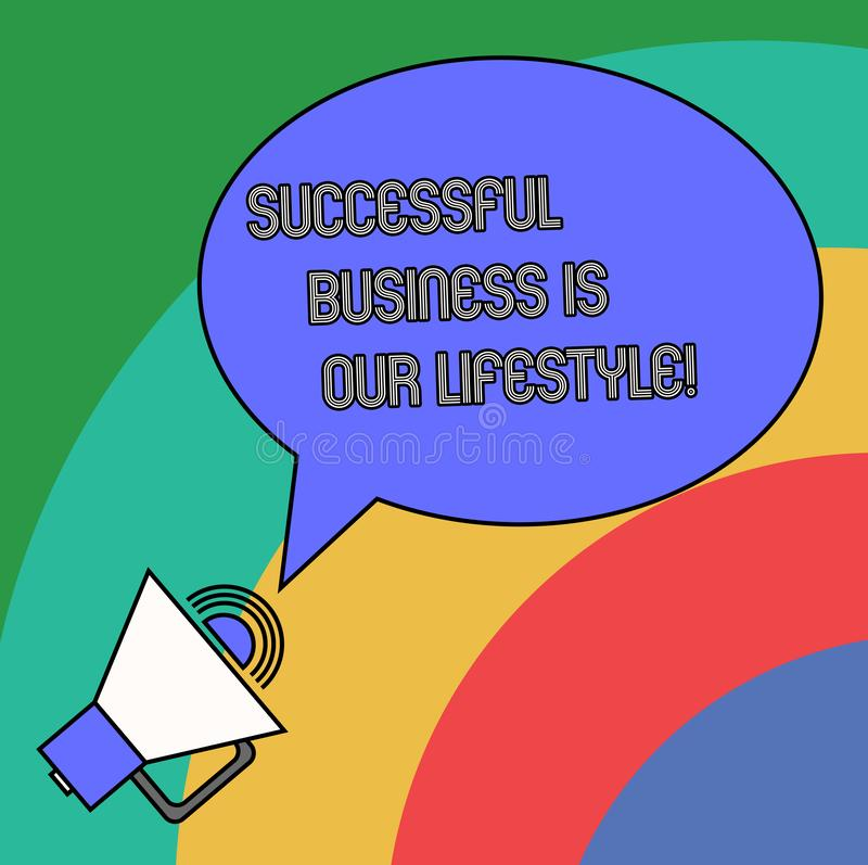 Handwriting text Successful Business Is Our Lifestyle. Concept meaning Used to work in quality company Blank Oval Outlined Speech. Bubble Text Balloon Megaphone royalty free illustration