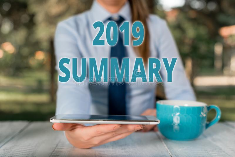 Handwriting text 2019 Summary. Concept meaning brief comprehensive especially covering the main points of 2019 Business. Handwriting text 2019 Summary stock photography
