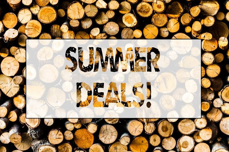 Handwriting text Summer Deals. Concept meaning Special Sales Offers for Vacation Holiday Trips Price Discounts Wooden. Handwriting text Summer Deals. Conceptual royalty free stock image
