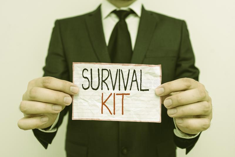 Handwriting text Survival Kit. Concept meaning Emergency Equipment Collection of items to help someone. Handwriting text Survival Kit. Conceptual photo stock photography