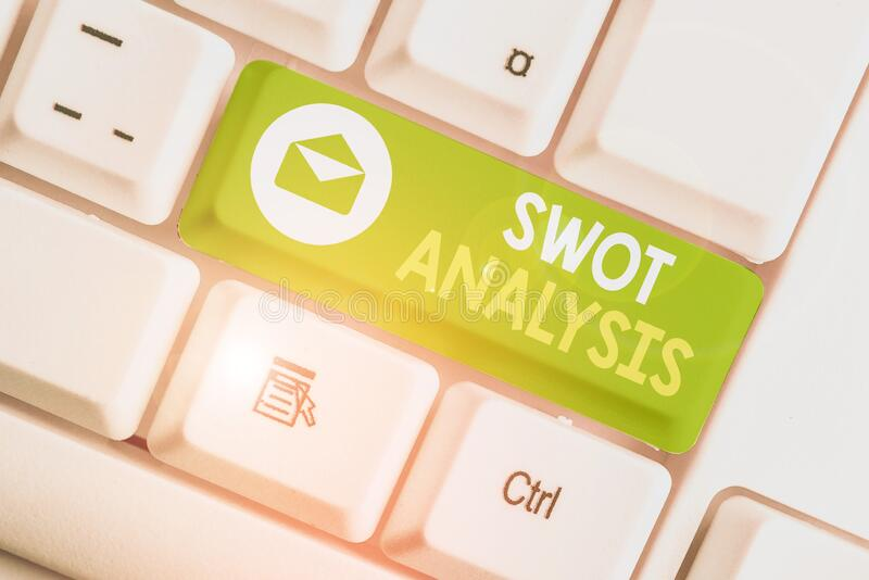 Handwriting text Swot Analysis. Concept meaning framework used to evaluate a company competitive position. Handwriting text Swot Analysis. Conceptual photo stock photos