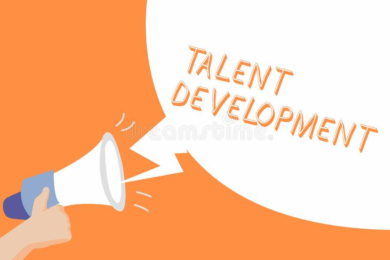 Handwriting text Talent Development. Concept meaning Building Skills Abilities Improving Potential Leader.  vector illustration