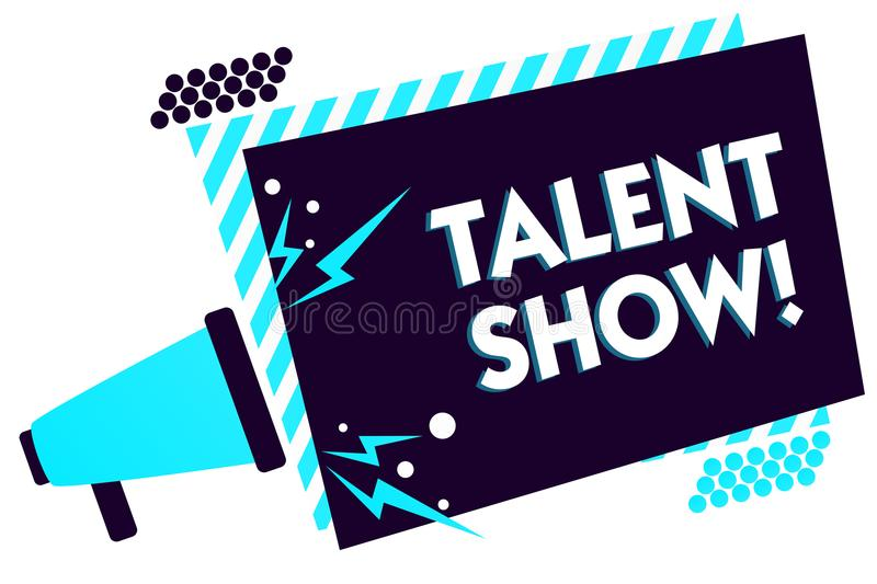 Handwriting text Talent Show. Concept meaning Competition of entertainers show casting their performances Megaphone loudspeaker bl. Ue striped frame important royalty free stock photography