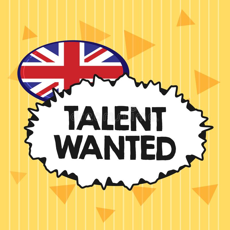 Handwriting text Talent Wanted. Concept meaning Hiring for specific skills Need of job position Vacancy.  royalty free illustration