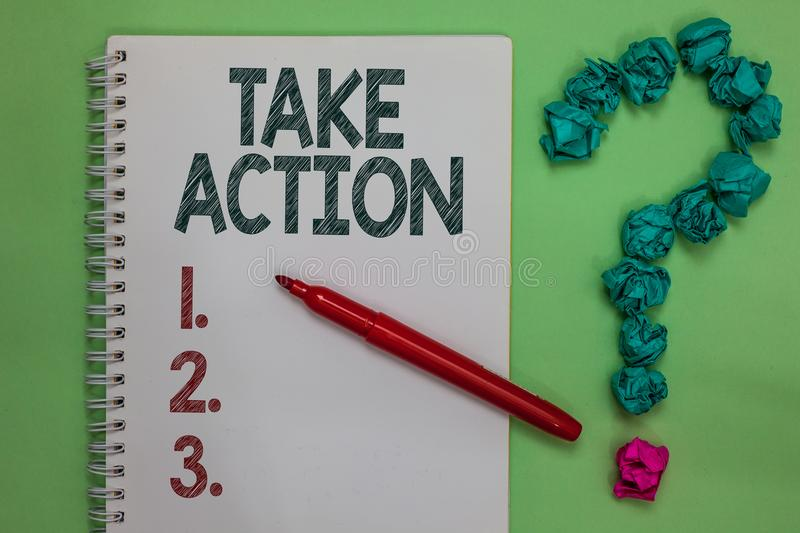 Handwriting text Talke Action. Concept meaning Supporting what you say not just words but through evidence Notebook marker crumple stock photos