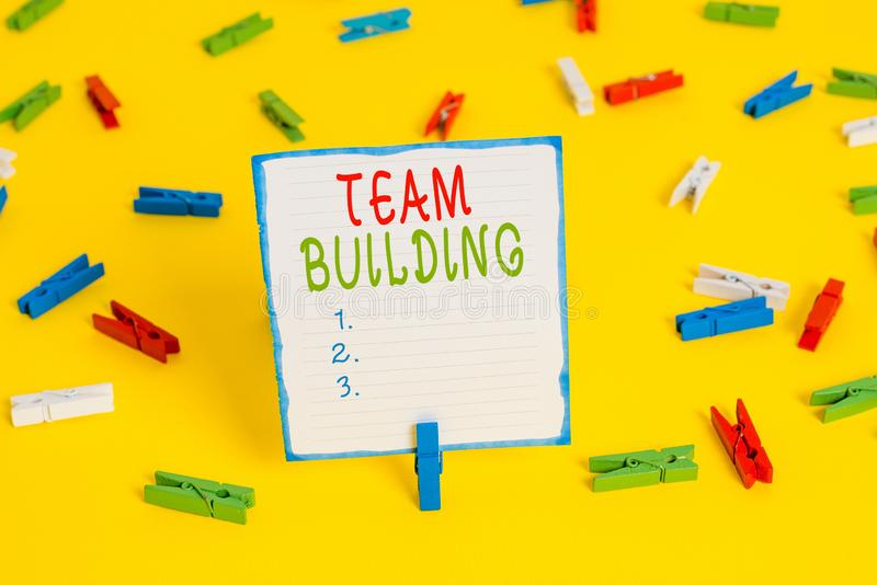Handwriting text Team Building. Concept meaning various types of activities used to enhance social relations Colored. Handwriting text Team Building. Conceptual royalty free stock photo