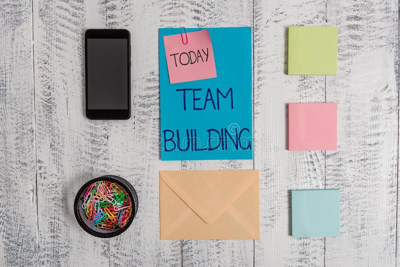 Handwriting text Team Building. Concept meaning various types of activities used to enhance social relations Envelope. Handwriting text Team Building. Conceptual royalty free stock image