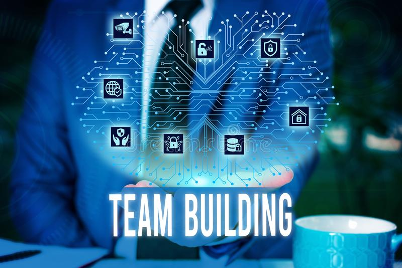 Handwriting text Team Building. Concept meaning various types of activities used to enhance social relations Male human. Handwriting text Team Building stock photo
