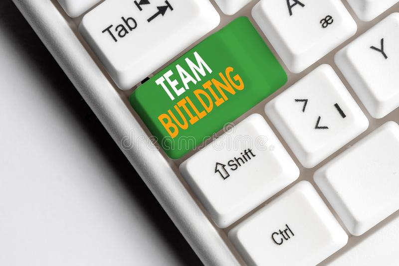 Handwriting text Team Building. Concept meaning various types of activities used to enhance social relations White pc. Handwriting text Team Building. Conceptual stock image