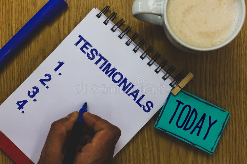 Handwriting text Testimonials. Concept meaning Customers formal endorsement statement experience of someone Mug coffee paper marke. R pens nice art clip royalty free stock photos