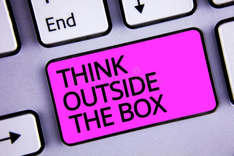 Handwriting text Think Outside The Box. Concept meaning Thinking of new and creative solution leads to success Keyboard purple key royalty free stock image
