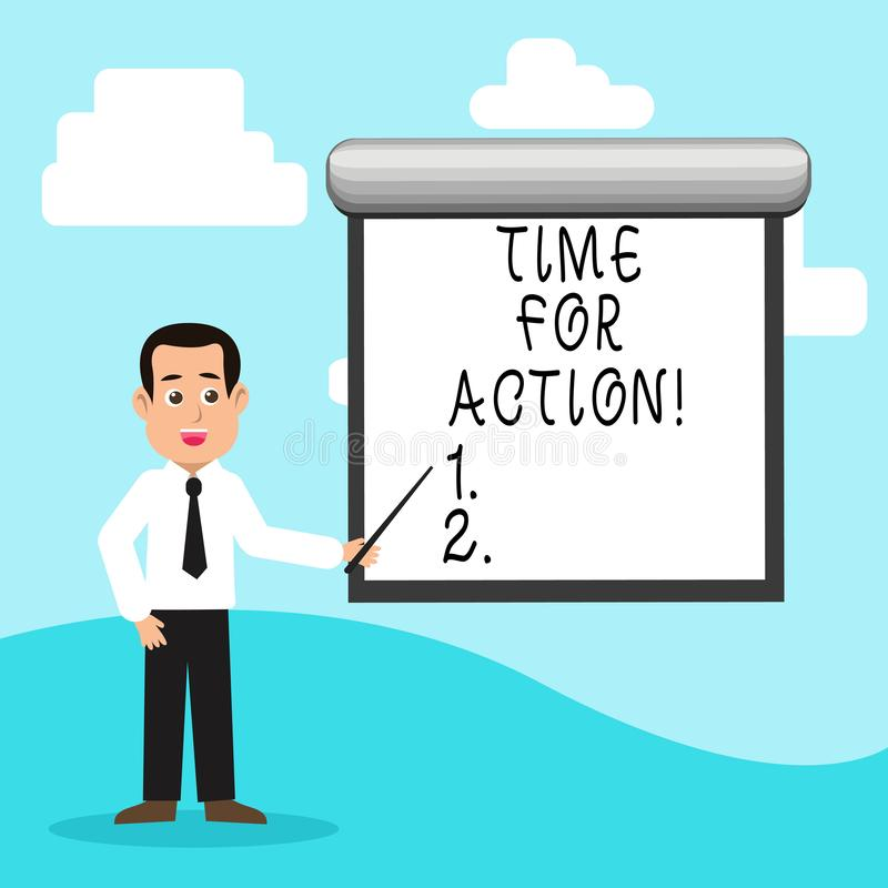 Handwriting text Time For Action. Concept meaning Urgency Move Encouragement Challenge Work. Handwriting text Time For Action. Conceptual photo Urgency Move royalty free illustration