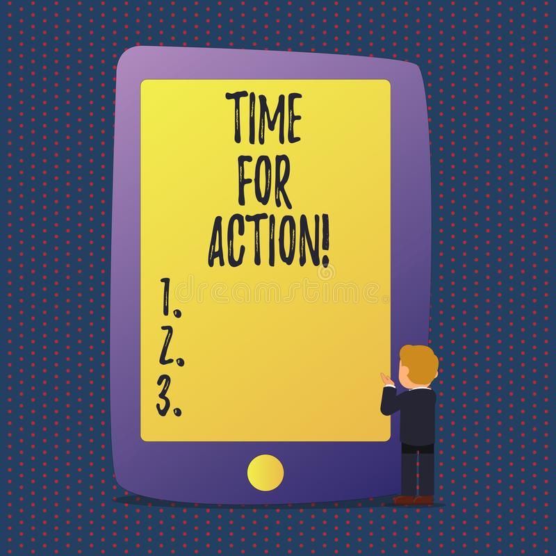 Handwriting text Time For Action. Concept meaning Urgency Move Encouragement Challenge Work. Handwriting text Time For Action. Conceptual photo Urgency Move vector illustration