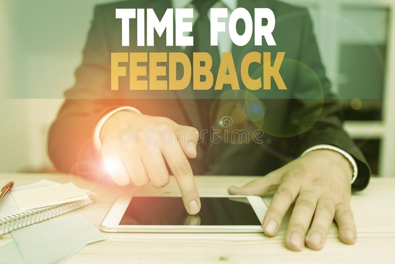 Handwriting text Time For Feedback. Concept meaning information about reactions to a product or services. Handwriting text Time For Feedback. Conceptual photo stock photography