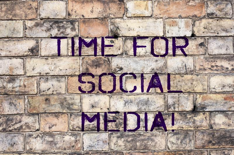 Handwriting text Time For Social Media. Concept meaning meeting new friends discussing topics news and movies stock photo