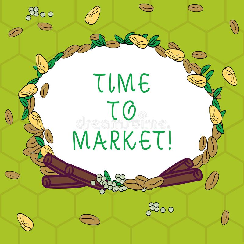 Handwriting text Time To Market. Concept meaning Right moment for making financial movements stock exchange Wreath Made. Of Different Color Seeds Leaves and stock illustration