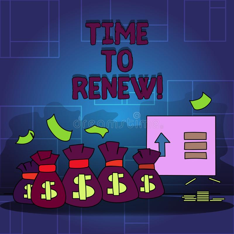 Handwriting text Time To Renew. Concept meaning Continue the insurance acquired Life and property protection. Handwriting text Time To Renew. Concept meaning vector illustration
