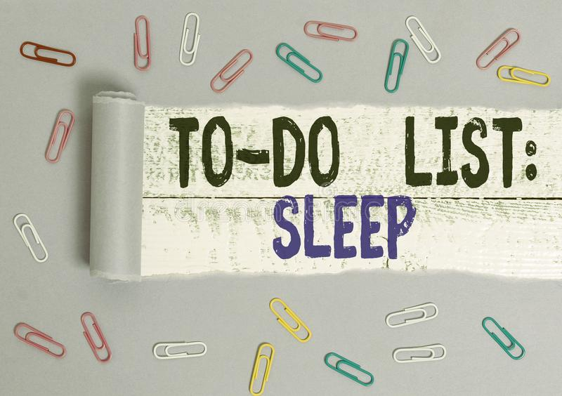 Handwriting text To Do List Sleep. Concept meaning Things to be done Priority object is to take a rest Paper clip and royalty free stock photo