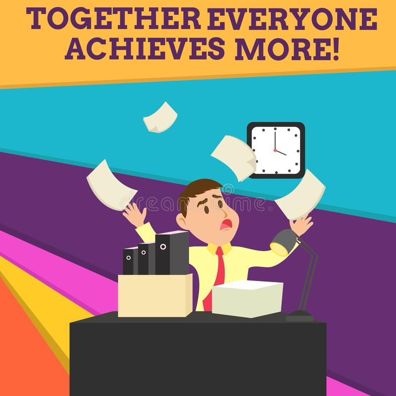 Handwriting text Together Everyone Achieves More. Concept meaning Members create synergy with strong sense mutual. Handwriting text Together Everyone Achieves vector illustration
