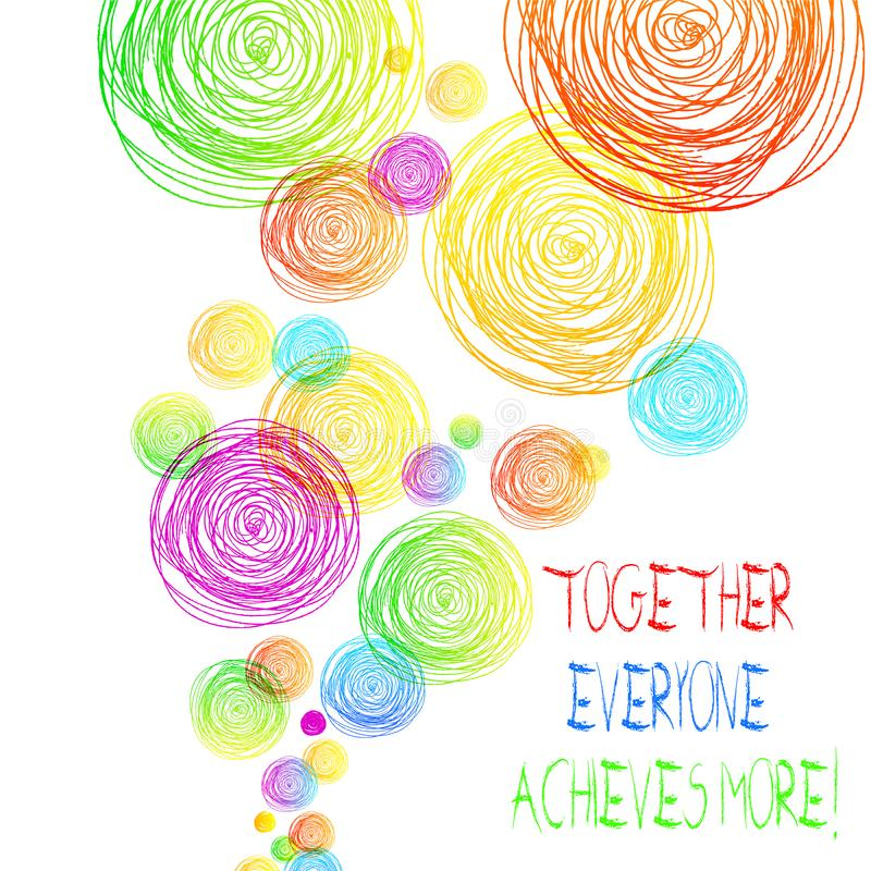 Handwriting text Together Everyone Achieves More. Concept meaning Members create synergy with strong sense mutual. Handwriting text Together Everyone Achieves royalty free illustration