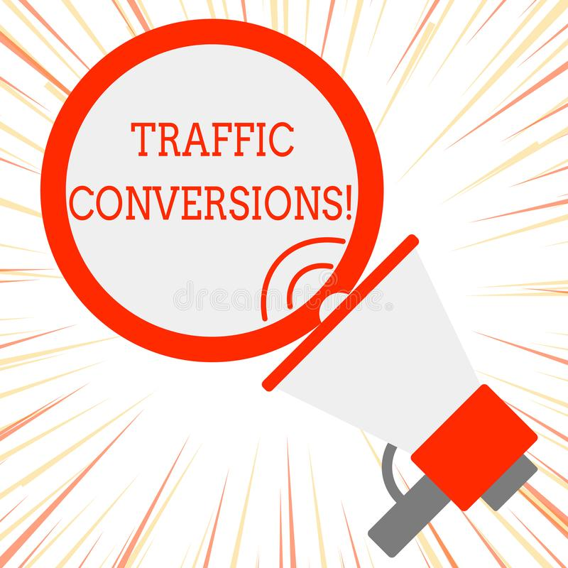 Handwriting text Traffic Conversions. Concept meaning visitor who has been converted into a client or customer. Handwriting text Traffic Conversions. Conceptual royalty free illustration