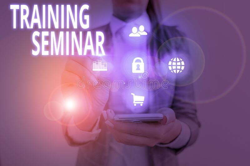Handwriting text Training Seminar. Concept meaning graduate course often featuring informality and discussion. stock photography