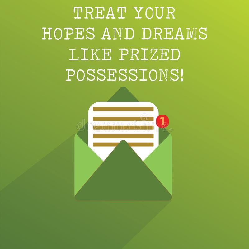 Handwriting text Treat Your Hopes And Dreams Like Prized Possessions. Concept meaning Value your wishes Open Message. Envelope with one Empty Sheet of Lined royalty free illustration