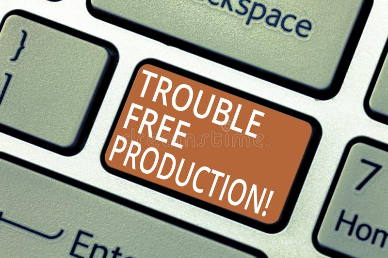 Handwriting text Trouble Free Production. Concept meaning Without problems or difficulties in the production Keyboard. Key Intention to create computer message royalty free stock photo