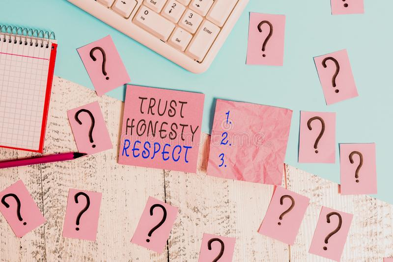 Handwriting text Trust Honesty Respect. Concept meaning Respectable Traits a Facet of Good Moral Character Writing tools. Handwriting text Trust Honesty Respect stock photo