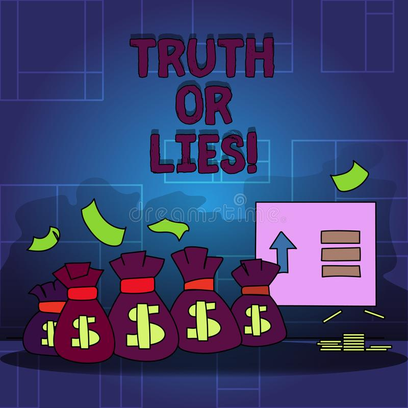Handwriting text Truth Or Lies. Concept meaning Decide between a fact or telling a lie Doubt confusion. Handwriting text Truth Or Lies. Concept meaning Decide royalty free illustration