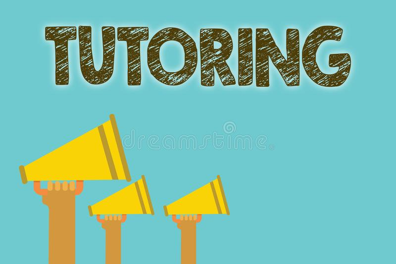 Handwriting text Tutoring. Concept meaning An act of a person employed to administer knowledge to someone Megaphones loudspeakers. Loud screaming scream talk vector illustration