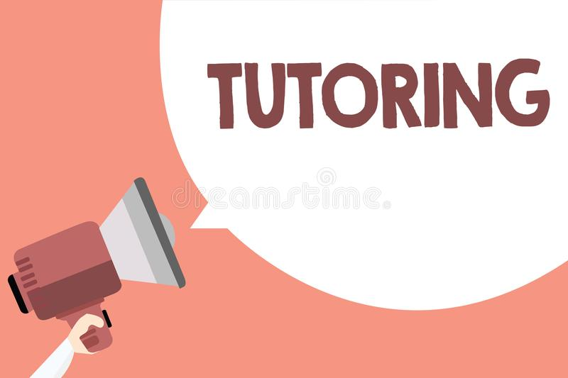 Handwriting text Tutoring. Concept meaning An act of a person employed to administer knowledge to someone Megaphone loudspeaker lo. Ud screaming scream idea talk vector illustration