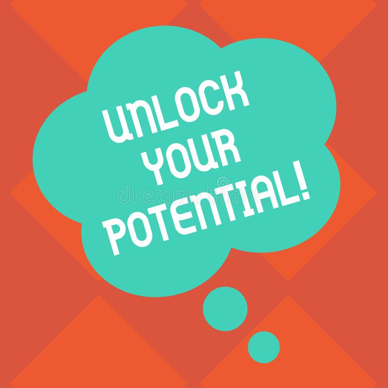 Handwriting text Unlock Your Potential. Concept meaning access your true skills and powers Believe in yourself Blank. Handwriting text Unlock Your Potential royalty free illustration