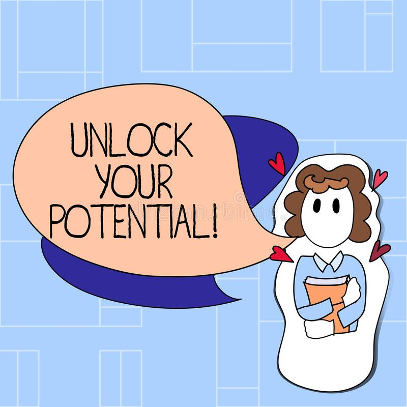 Handwriting text Unlock Your Potential. Concept meaning access your true skills and powers Believe in yourself. Handwriting text Unlock Your Potential stock illustration