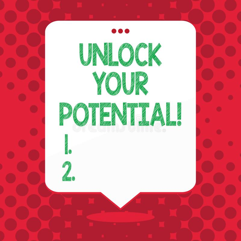 Handwriting text Unlock Your Potential. Concept meaning access your true skills and powers Believe in yourself. Handwriting text Unlock Your Potential vector illustration