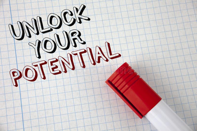 Handwriting text Unlock Your Potential. Concept meaning Reveal talent Develop abilities Show personal skills written on Notebook P. Handwriting text Unlock Your royalty free stock photos