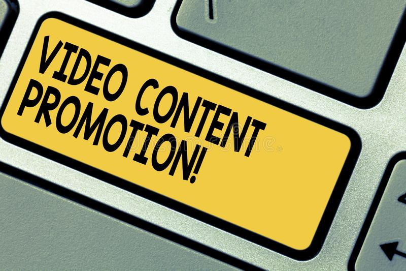 Handwriting text Video Content Promotion. Concept meaning video with the intent to promote the products Keyboard key royalty free stock photography