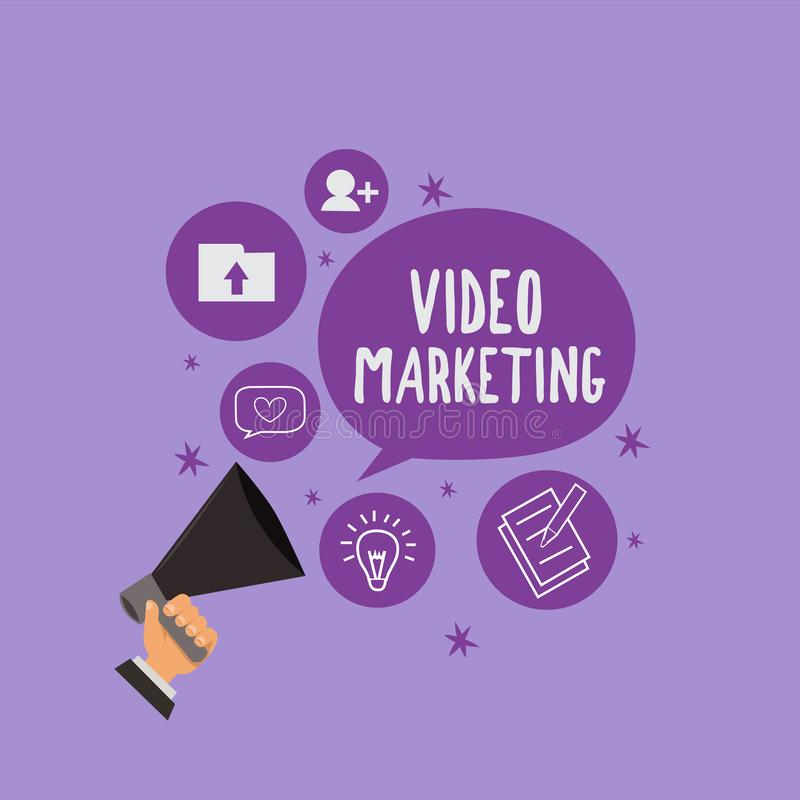 Handwriting text Video Marketing. Concept meaning create short videos about specific topics using articles.  stock illustration