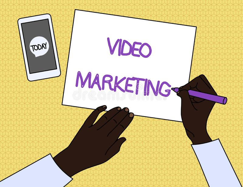 Handwriting text Video Marketing. Concept meaning create short videos about specific topics using articles Top View Man. Handwriting text Video Marketing royalty free illustration