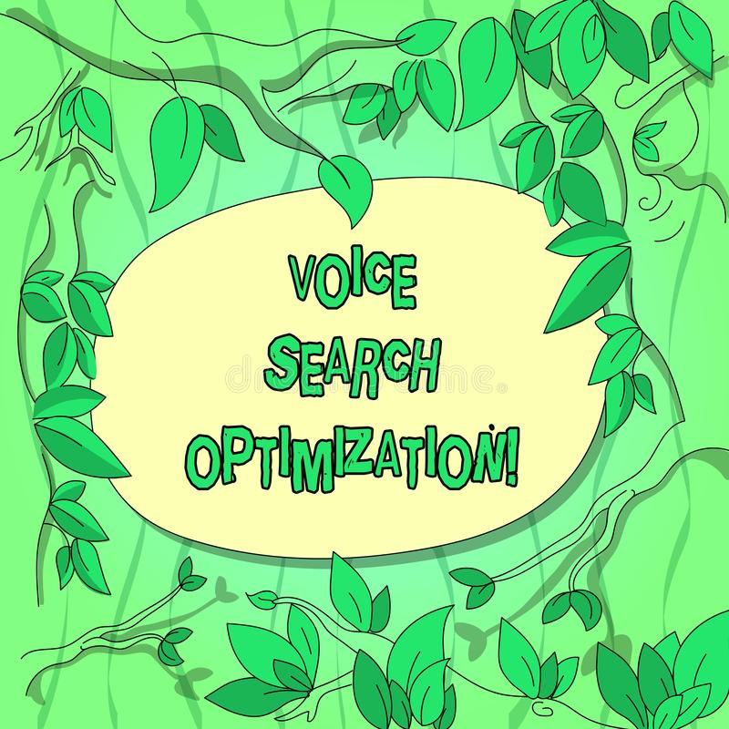 Handwriting text Voice Search Optimization. Concept meaning enhance web searching through spoken comanalysisds Tree Branches. Scattered with Leaves Surrounding stock illustration