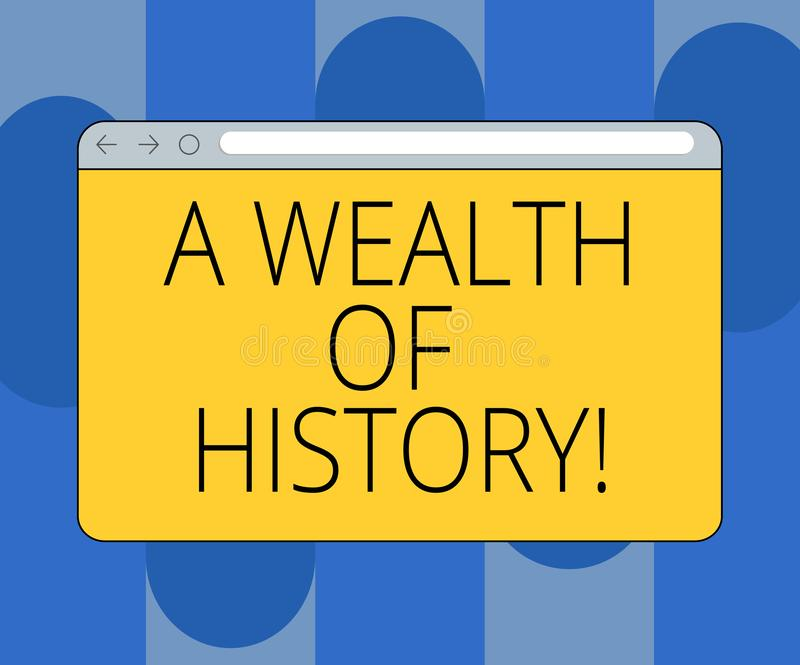 Handwriting text A Wealth Of History. Concept meaning Valuable ancient stories ancient cultures traditions Monitor. Screen with Forward Backward Progress stock illustration