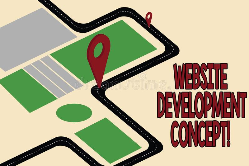 Handwriting text Website Development Concept. Concept meaning developing a web site for the Internet Road Map Navigation. Marker 3D Locator Pin for Direction royalty free illustration