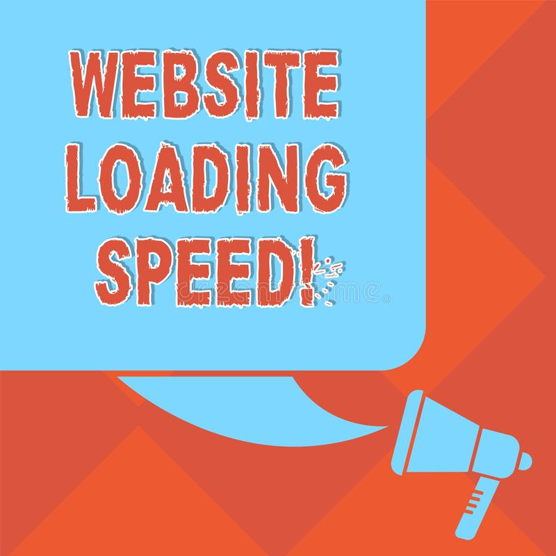 Handwriting text Website Loading Speed. Concept meaning time takes to display the entire content of a webpage Color. Silhouette of Blank Square Speech Bubble stock illustration